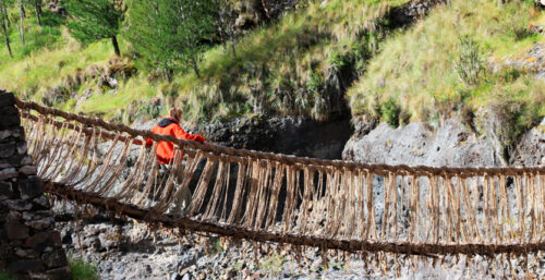 Someone crossing the Inca Bridge