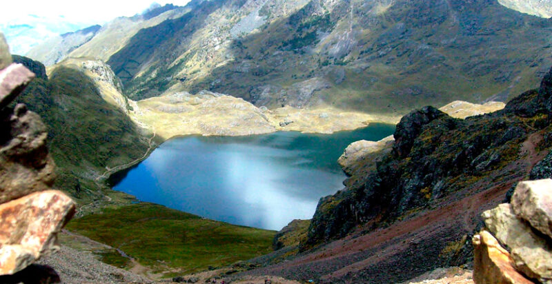 A view looking down at one of the lakes found in the Lares valley
